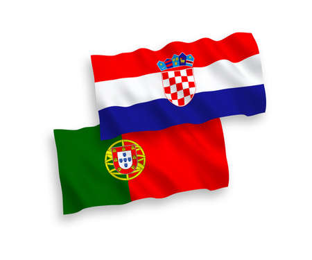 National vector fabric wave flags of Portugal and Croatia isolated on white background. 1 to 2 proportion. Ilustração