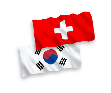 National vector fabric wave flags of South Korea and Switzerland isolated on white background. 1 to 2 proportion.