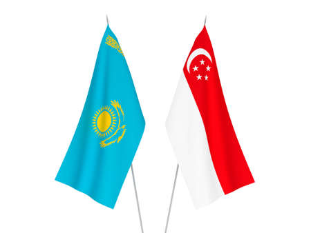 National fabric flags of Kazakhstan and Singapore isolated on white background. 3d rendering illustration. Reklamní fotografie