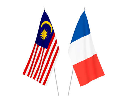 National fabric flags of France and Malaysia isolated on white background. 3d rendering illustration.