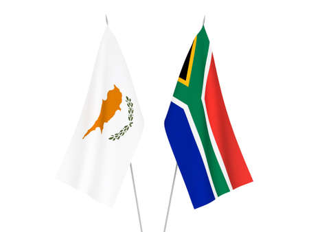 National fabric flags of Republic of South Africa and Cyprus isolated on white background. 3d rendering illustration.