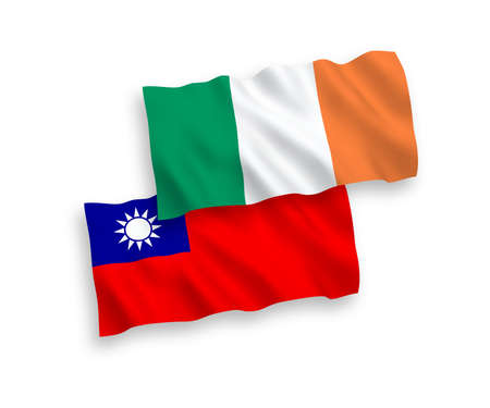 National vector fabric wave flags of Ireland and Taiwan isolated on white background. 1 to 2 proportion. Çizim