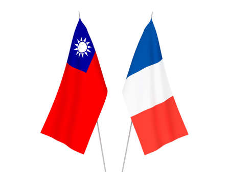 National fabric flags of France and Taiwan isolated on white background. 3d rendering illustration. Stok Fotoğraf
