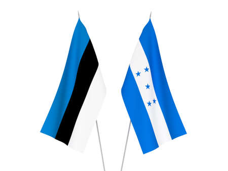 National fabric flags of Honduras and Estonia isolated on white background. 3d rendering illustration.