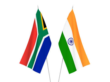 National fabric flags of India and Republic of South Africa isolated on white background. 3d rendering illustration.