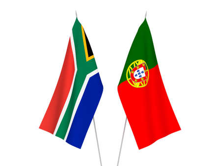 National fabric flags of Portugal and Republic of South Africa isolated on white background. 3d rendering illustration. 版權商用圖片