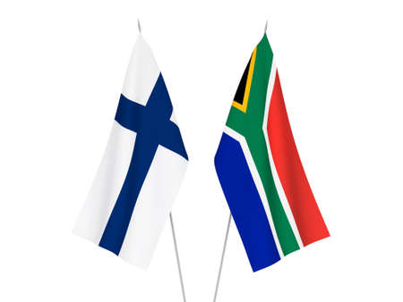 National fabric flags of Republic of South Africa and Finland isolated on white background. 3d rendering illustration.