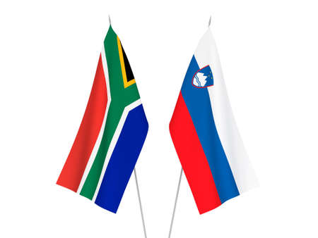 National fabric flags of Slovenia and Republic of South Africa isolated on white background. 3d rendering illustration. Stok Fotoğraf
