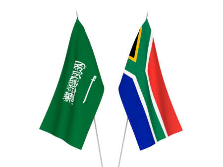 National fabric flags of Saudi Arabia and Republic of South Africa isolated on white background. 3d rendering illustration.