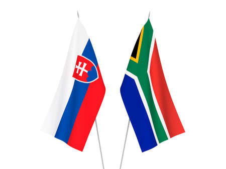 National fabric flags of Republic of South Africa and Slovakia isolated on white background. 3d rendering illustration. Stok Fotoğraf
