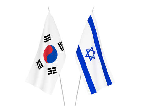 National fabric flags of Israel and South Korea isolated on white background. 3d rendering illustration.