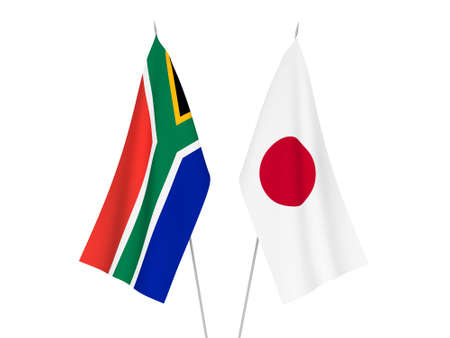 National fabric flags of Japan and Republic of South Africa isolated on white background. 3d rendering illustration. Stok Fotoğraf