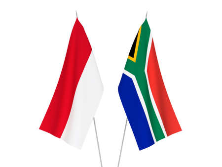National fabric flags of Republic of South Africa and Indonesia isolated on white background. 3d rendering illustration.