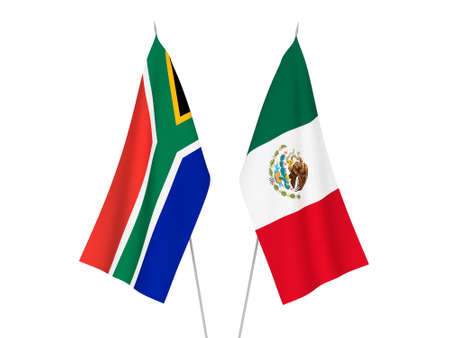 National fabric flags of Republic of South Africa and Mexico isolated on white background. 3d rendering illustration.