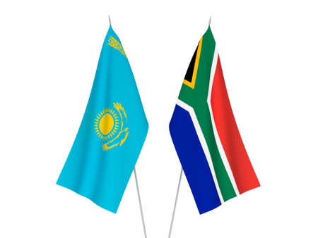 National fabric flags of Kazakhstan and Republic of South Africa isolated on white background. 3d rendering illustration. 版權商用圖片