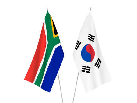 National fabric flags of South Korea and Republic of South Africa isolated on white background. 3d rendering illustration.