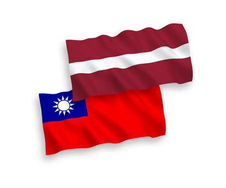 National vector fabric wave flags of Latvia and Taiwan isolated on white background. 1 to 2 proportion.