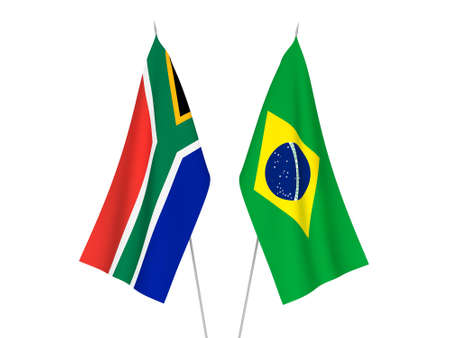 National fabric flags of Brazil and Republic of South Africa isolated on white background. 3d rendering illustration. Фото со стока