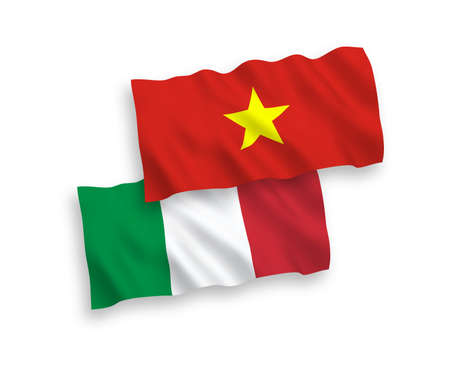 National vector fabric wave flags of Italy and Vietnam isolated on white background. 1 to 2 proportion.