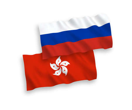 National vector fabric wave flags of Hong Kong and Russia isolated on white background. 1 to 2 proportion.