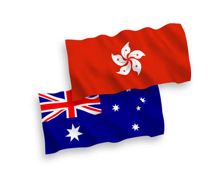 National vector fabric wave flags of Australia and Hong Kong isolated on white background. 1 to 2 proportion.
