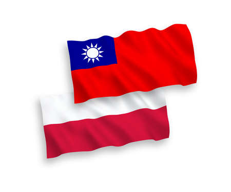 National vector fabric wave flags of Taiwan and Poland isolated on white background. 1 to 2 proportion. Çizim