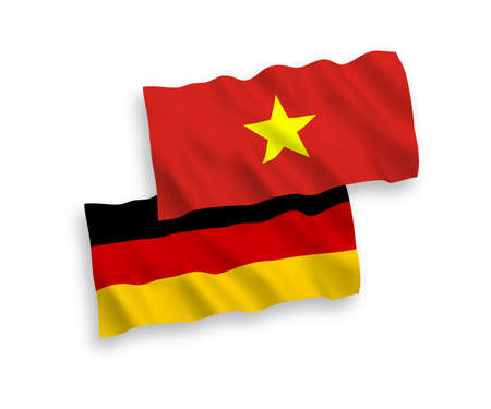 National vector fabric wave flags of Germany and Vietnam isolated on white background. 1 to 2 proportion.