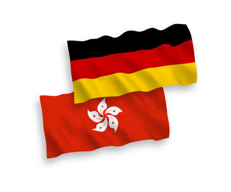 National vector fabric wave flags of Germany and Hong Kong isolated on white background. 1 to 2 proportion.