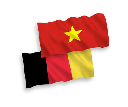National vector fabric wave flags of Vietnam and Belgium isolated on white background. 1 to 2 proportion.