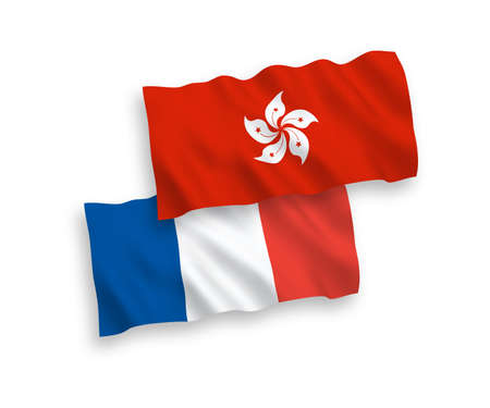 National vector fabric wave flags of France and Hong Kong isolated on white background. 1 to 2 proportion. Çizim