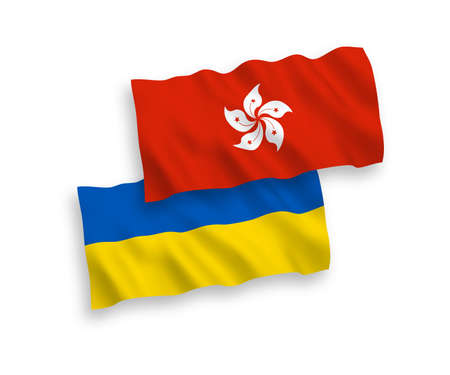National vector fabric wave flags of Hong Kong and Ukraine isolated on white background. 1 to 2 proportion.