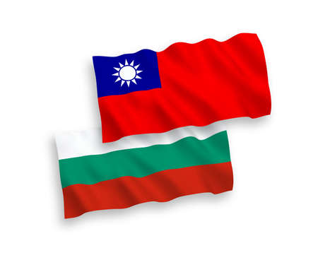 National vector fabric wave flags of Bulgaria and Taiwan isolated on white background. 1 to 2 proportion.