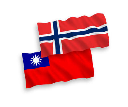 National vector fabric wave flags of Norway and Taiwan isolated on white background. 1 to 2 proportion.