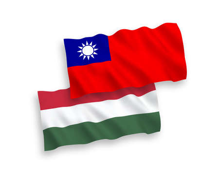 National vector fabric wave flags of Taiwan and Hungary isolated on white background. 1 to 2 proportion.