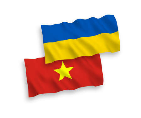 National vector fabric wave flags of Vietnam and Ukraine isolated on white background. 1 to 2 proportion.