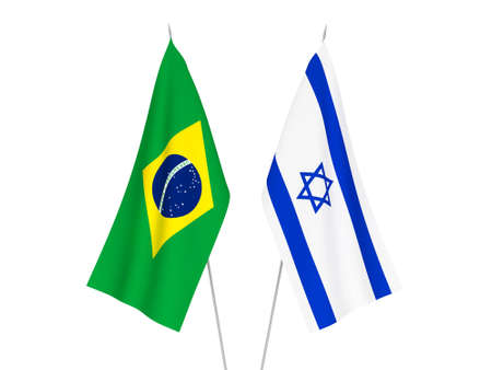 National fabric flags of Brazil and Israel isolated on white background. 3d rendering illustration. Фото со стока
