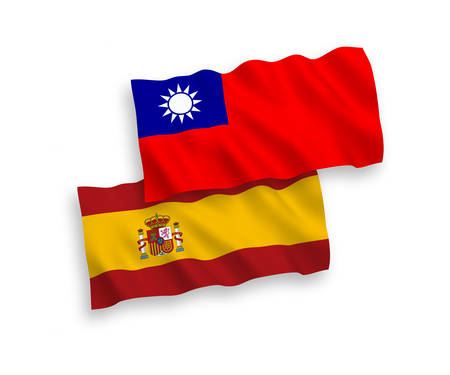 National vector fabric wave flags of Taiwan and Spain isolated on white background. 1 to 2 proportion.