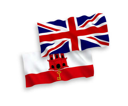 National vector fabric wave flags of Great Britain and Gibraltar isolated on white background. 1 to 2 proportion. Ilustrace