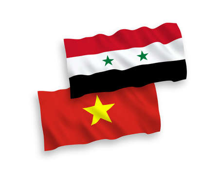 National vector fabric wave flags of Vietnam and Syria isolated on white background. 1 to 2 proportion. Çizim