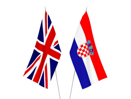 National fabric flags of Great Britain and Croatia isolated on white background. 3d rendering illustration.