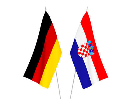 National fabric flags of Germany and Croatia isolated on white background. 3d rendering illustration.