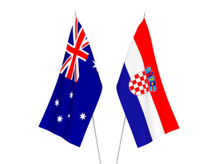 National fabric flags of Australia and Croatia isolated on white background. 3d rendering illustration. Imagens