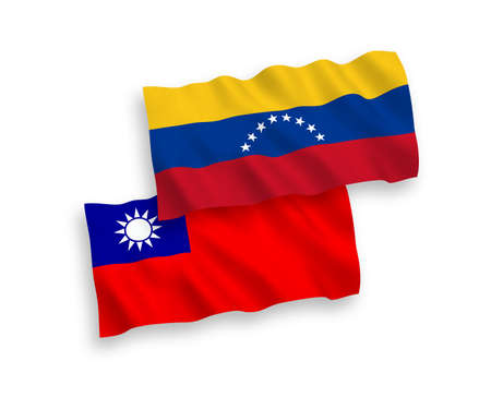 National vector fabric wave flags of Venezuela and Taiwan isolated on white background. 1 to 2 proportion.