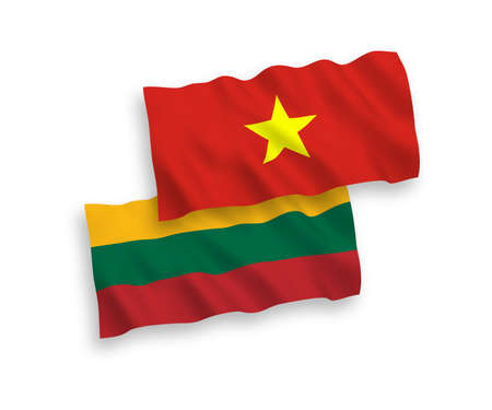 National vector fabric wave flags of Lithuania and Vietnam isolated on white background. 1 to 2 proportion. Çizim