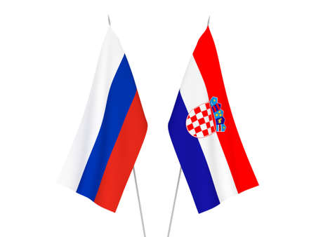 National fabric flags of Russia and Croatia isolated on white background. 3d rendering illustration. Imagens