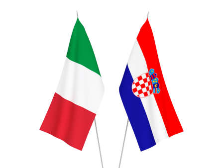 National fabric flags of Italy and Croatia isolated on white background. 3d rendering illustration. Imagens