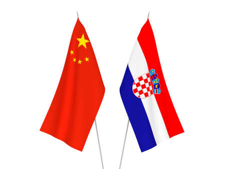 National fabric flags of China and Croatia isolated on white background. 3d rendering illustration. Imagens