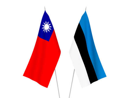 National fabric flags of Taiwan and Estonia isolated on white background. 3d rendering illustration. 写真素材