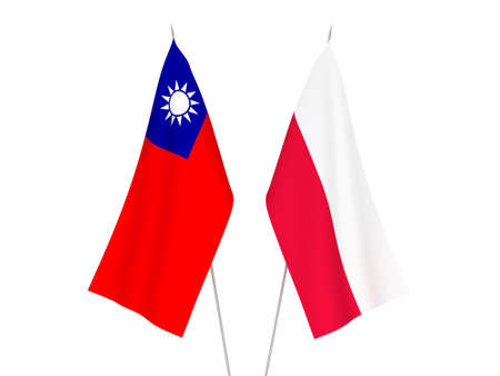 National fabric flags of Taiwan and Poland isolated on white background. 3d rendering illustration.
