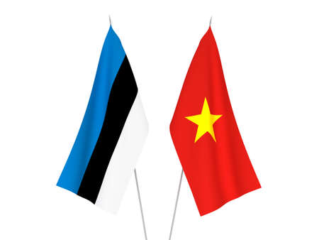 National fabric flags of Vietnam and Estonia isolated on white background. 3d rendering illustration.